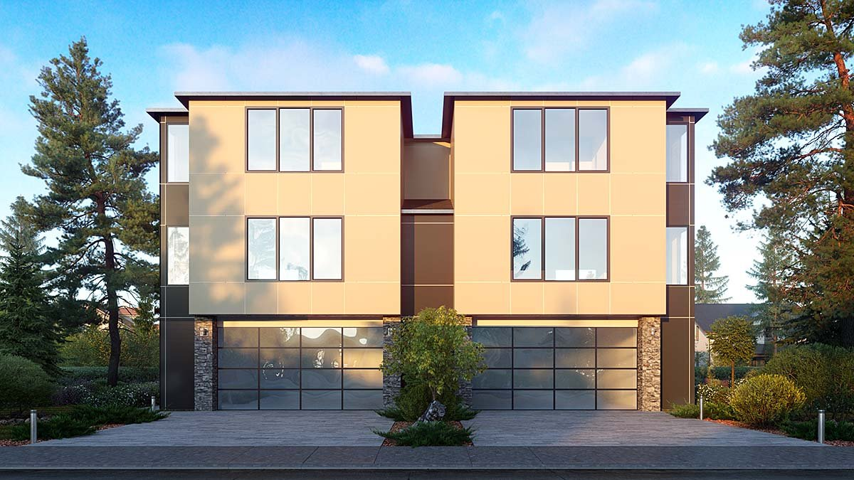 Contemporary, Modern Multi-Family Plan 81963 with 8 Beds, 8 Baths, 4 Car Garage Elevation
