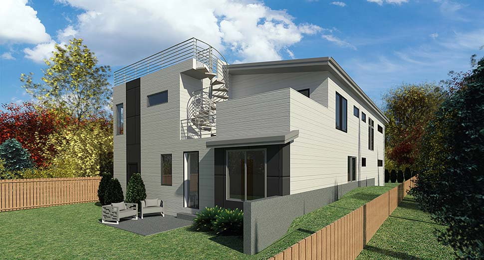 Contemporary, Modern House Plan 81964 with 4 Beds, 3 Baths, 3 Car Garage Picture 2