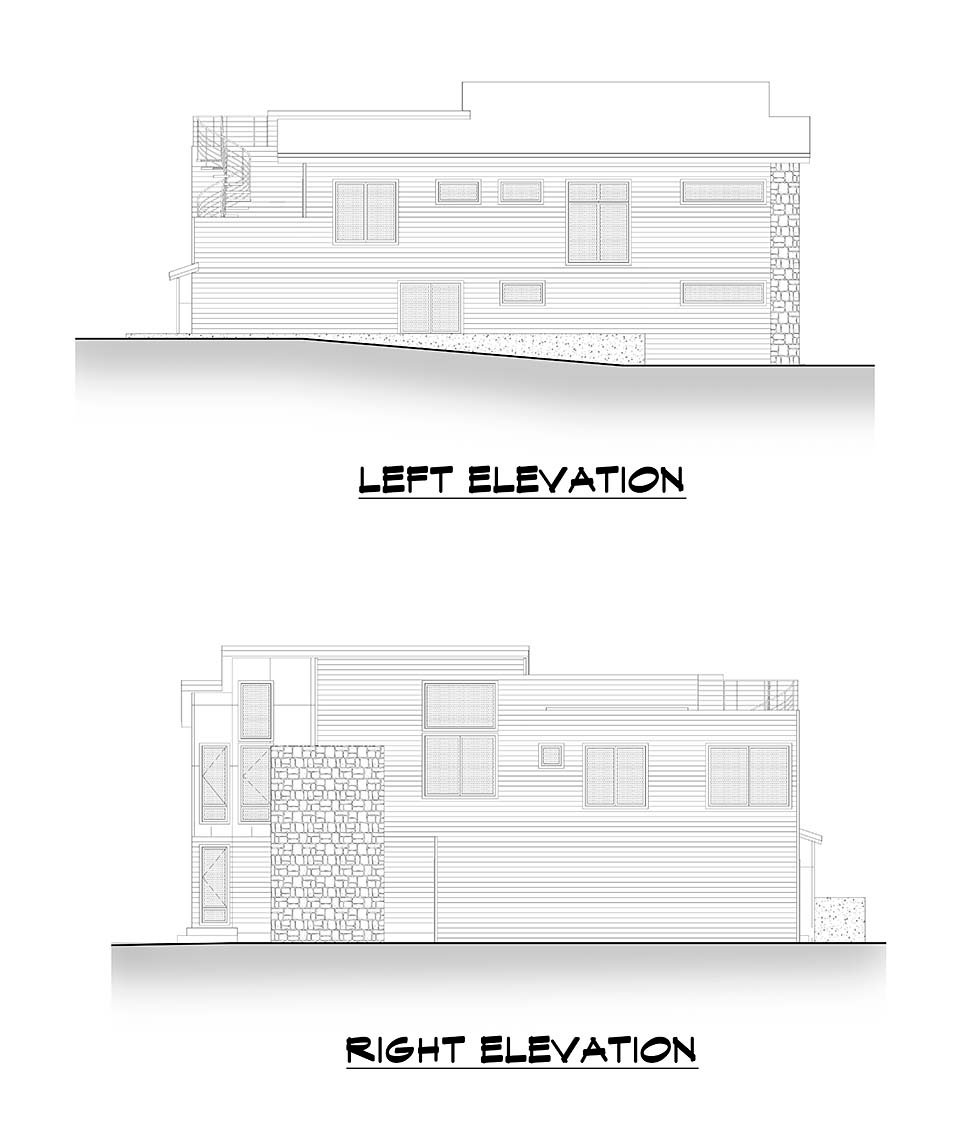 Contemporary, Modern House Plan 81964 with 4 Beds, 3 Baths, 3 Car Garage Picture 4