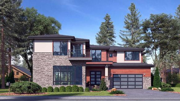 Contemporary, European House Plan 81979 with 5 Beds, 5 Baths, 3 Car Garage Elevation