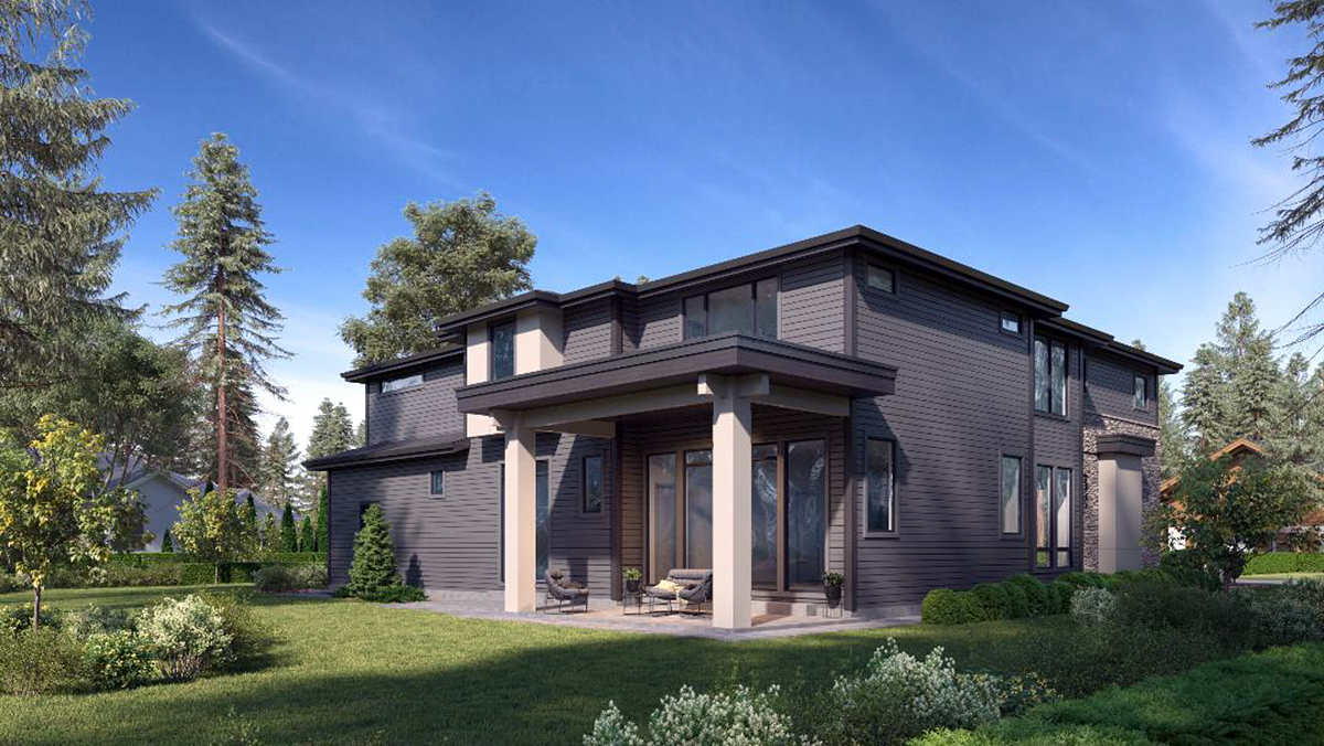 Contemporary, European House Plan 81979 with 5 Beds, 5 Baths, 3 Car Garage Rear Elevation