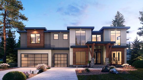Contemporary House Plan 81987 with 5 Beds, 6 Baths, 3 Car Garage Elevation