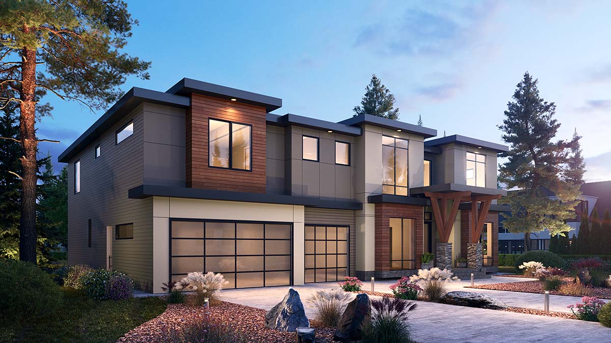 Contemporary House Plan 81987 with 5 Beds, 6 Baths, 3 Car Garage Picture 1