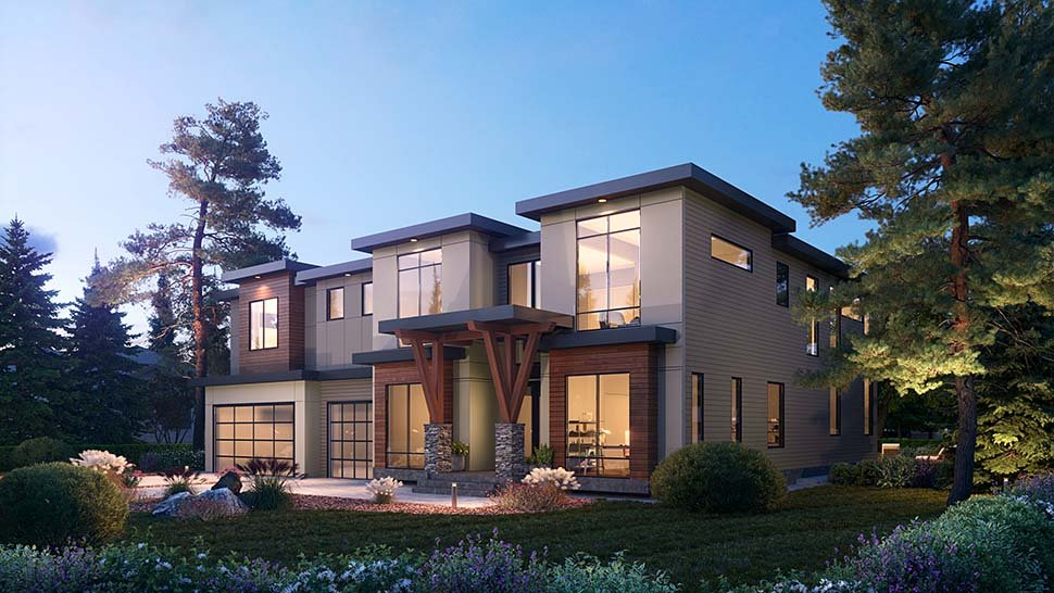 Contemporary House Plan 81987 with 5 Beds, 6 Baths, 3 Car Garage Picture 2