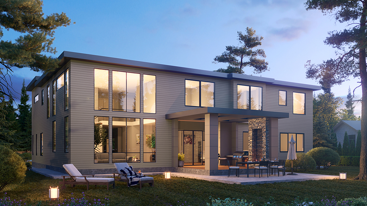 Contemporary House Plan 81987 with 5 Beds, 6 Baths, 3 Car Garage Rear Elevation