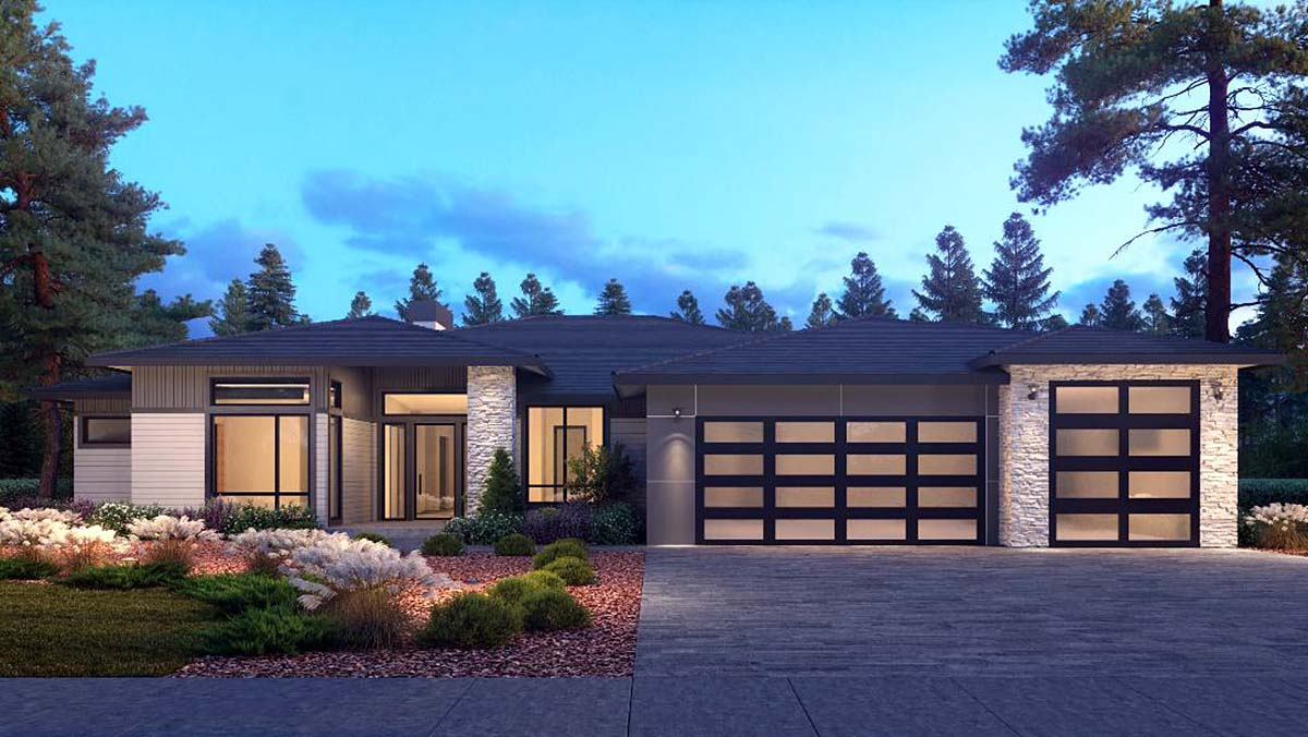 Contemporary, Traditional House Plan 81988 with 4 Beds, 4 Baths, 3 Car Garage Elevation