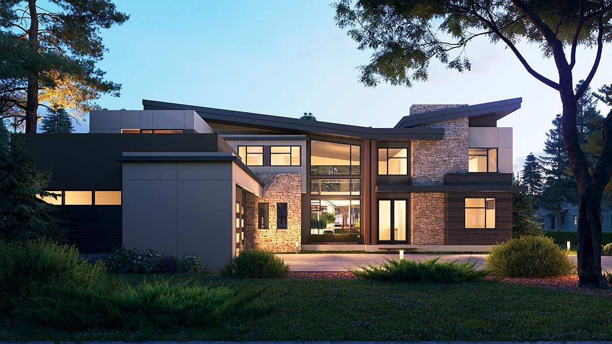 Modern House Plan 81990 with 4 Beds, 6 Baths, 3 Car Garage Picture 1
