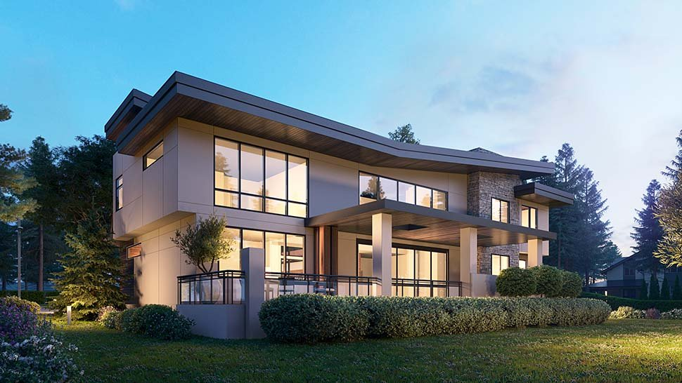 Modern House Plan 81990 with 4 Beds, 6 Baths, 3 Car Garage Picture 2