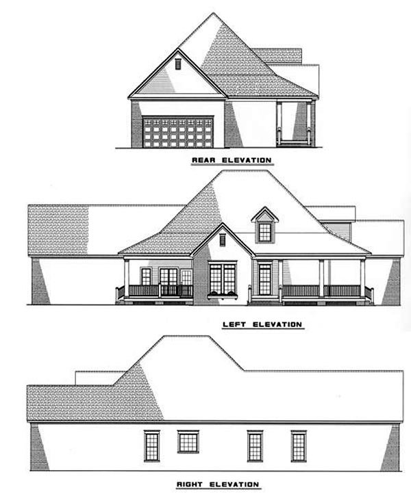 Country, Farmhouse House Plan 82020 with 3 Beds, 2 Baths Rear Elevation