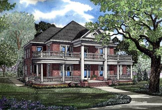 Colonial, Plantation House Plan 82054 with 3 Beds, 4 Baths, 3 Car Garage Elevation