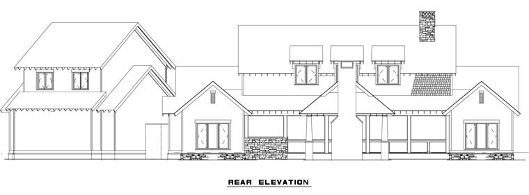 Country, Craftsman, Farmhouse House Plan 82085 with 5 Beds, 4 Baths, 2 Car Garage Rear Elevation