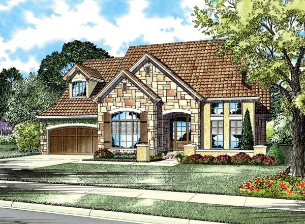 Italian, Mediterranean, Tuscan House Plan 82116 with 3 Beds, 3 Baths, 2 Car Garage Elevation