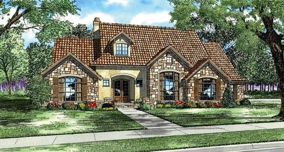 Italian, Mediterranean, Tuscan House Plan 82118 with 4 Beds, 4 Baths, 3 Car Garage Elevation
