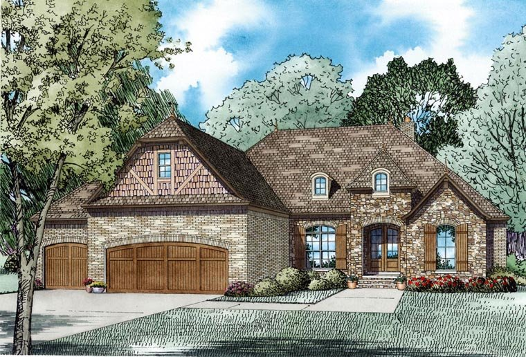Craftsman, European, French Country House Plan 82236 with 4 Beds, 4 Baths, 3 Car Garage Elevation