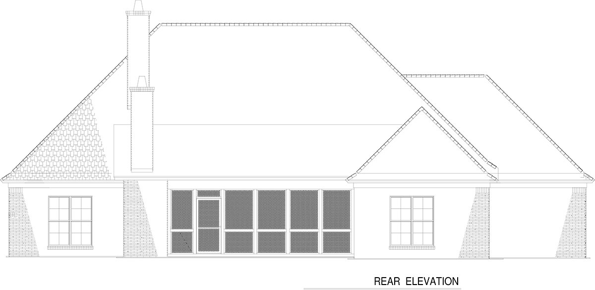Craftsman, European, French Country House Plan 82236 with 4 Beds, 4 Baths, 3 Car Garage Rear Elevation