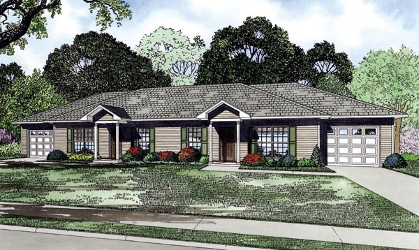 Traditional Multi-Family Plan 82266 with 4 Beds, 2 Baths, 2 Car Garage Elevation