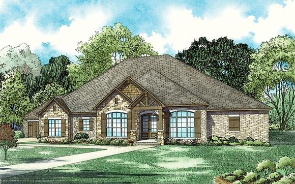 Country, Craftsman, European House Plan 82357 with 5 Beds, 4 Baths, 4 Car Garage Elevation