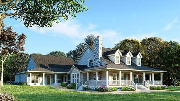 Country, Southern House Plan 82417 with 6 Beds, 4 Baths, 3 Car Garage Elevation