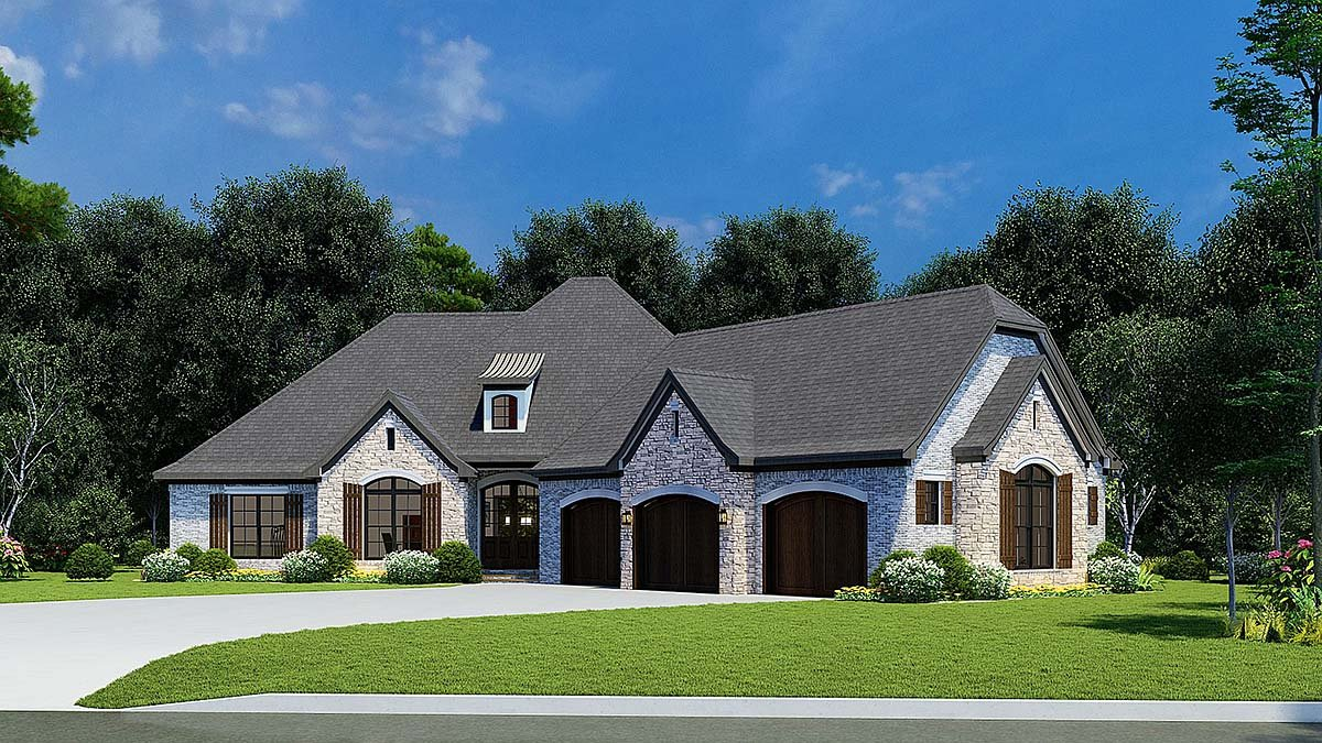 European, French Country House Plan 82449 with 4 Beds, 3 Baths, 3 Car Garage Elevation