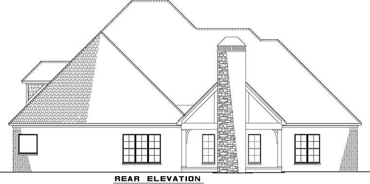 Bungalow, Craftsman, French Country, Traditional House Plan 82477 with 4 Beds, 3 Baths, 3 Car Garage Rear Elevation