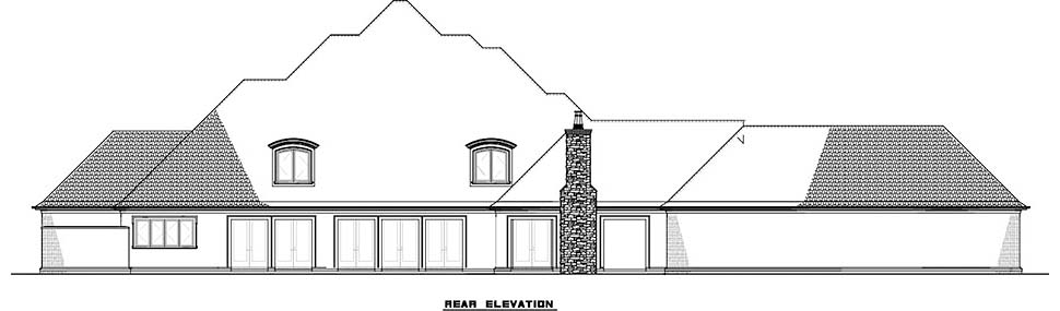 European, French Country House Plan 82498 with 5 Beds, 7 Baths, 3 Car Garage Rear Elevation
