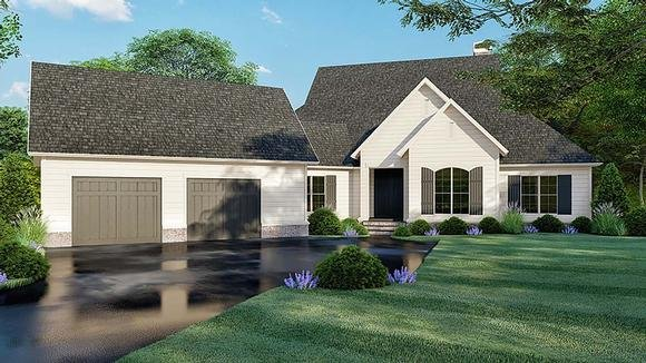 Country, Farmhouse, Southern House Plan 82521 with 3 Beds, 4 Baths, 2 Car Garage Elevation