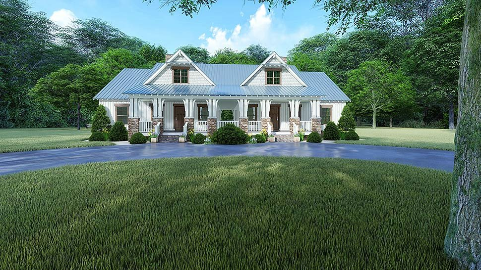 Bungalow, Country, Craftsman, Farmhouse Multi-Family Plan 82524 with 4 Beds, 3 Baths Elevation