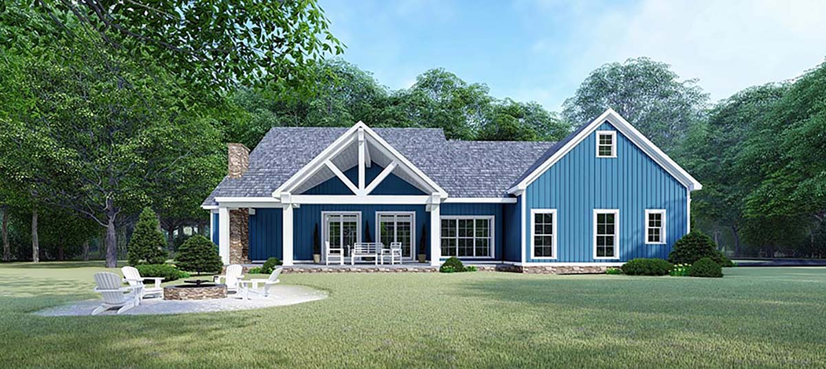 Bungalow, Country, Craftsman, Farmhouse House Plan 82533 with 3 Beds, 3 Baths, 2 Car Garage Rear Elevation