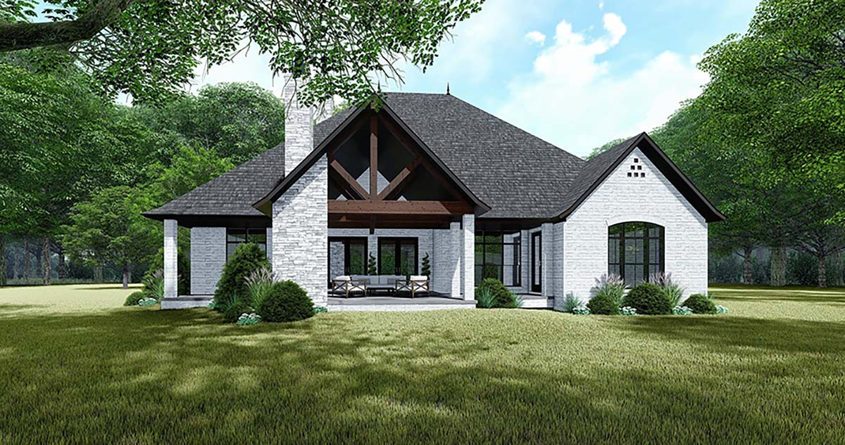 Bungalow, Craftsman, European, French Country House Plan 82534 with 4 Beds, 4 Baths, 3 Car Garage Rear Elevation