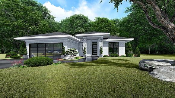 Contemporary, Prairie House Plan 82535 with 3 Beds, 2 Baths, 2 Car Garage Elevation