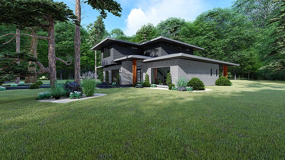 Contemporary, Mediterranean, Modern House Plan 82543 with 3 Beds, 2 Baths, 2 Car Garage Picture 1
