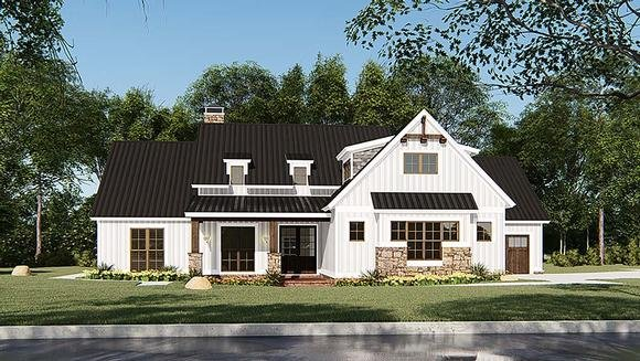Bungalow, Craftsman, Farmhouse House Plan 82546 with 4 Beds, 3 Baths, 3 Car Garage Elevation
