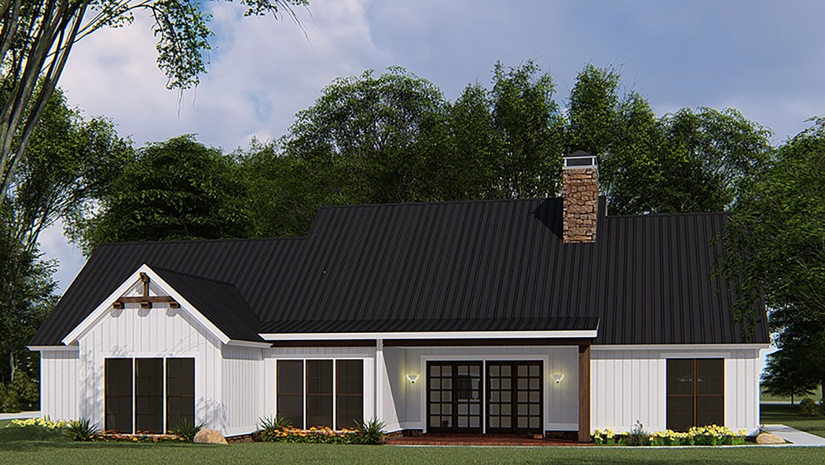 Bungalow, Craftsman, Farmhouse House Plan 82546 with 4 Beds, 3 Baths, 3 Car Garage Rear Elevation