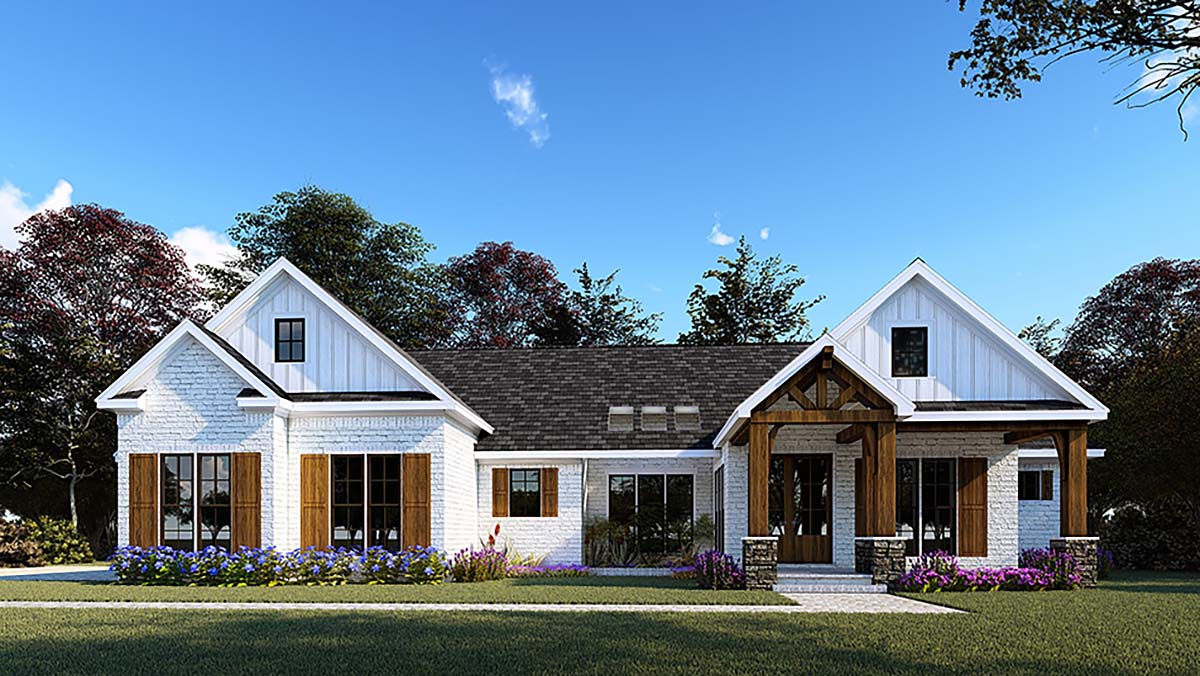 Bungalow, Craftsman, Farmhouse, One-Story House Plan 82557 with 3 Beds, 4 Baths, 2 Car Garage Elevation