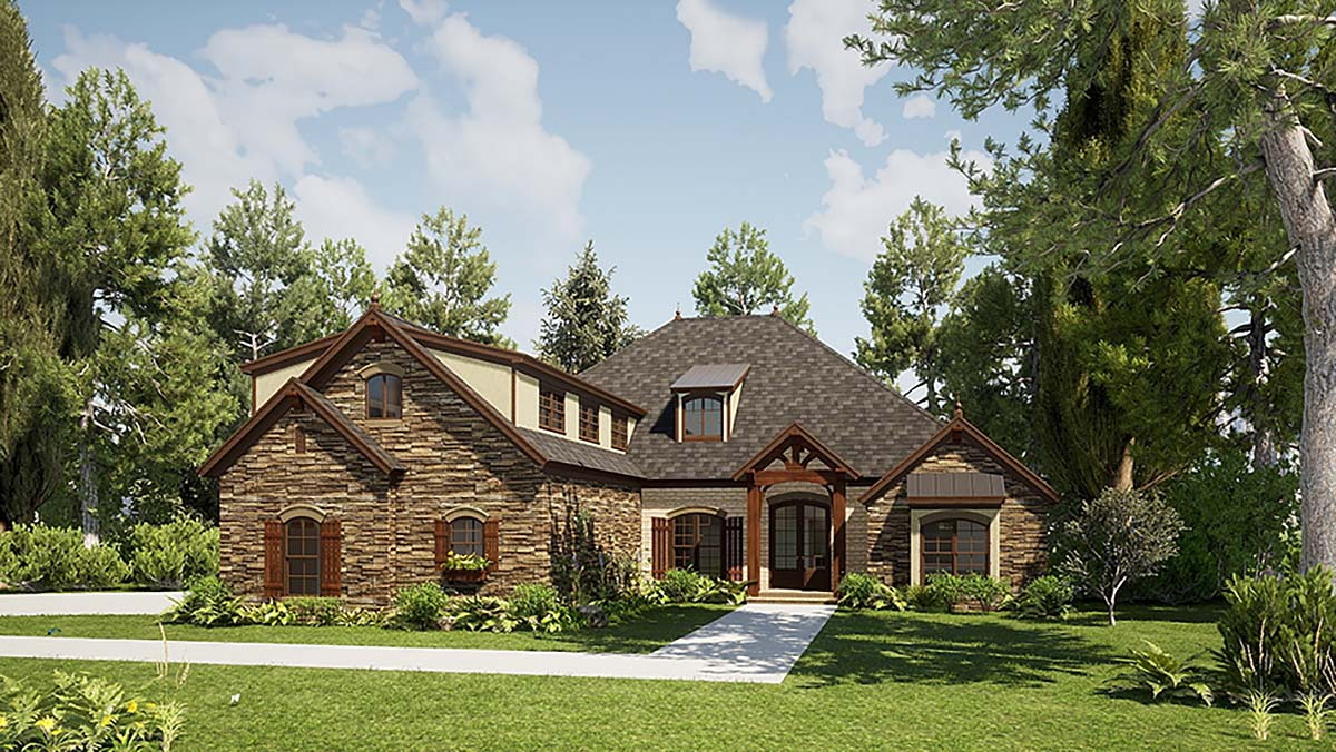 Bungalow, Craftsman, European, French Country House Plan 82571 with 3 Beds, 4 Baths, 3 Car Garage Elevation
