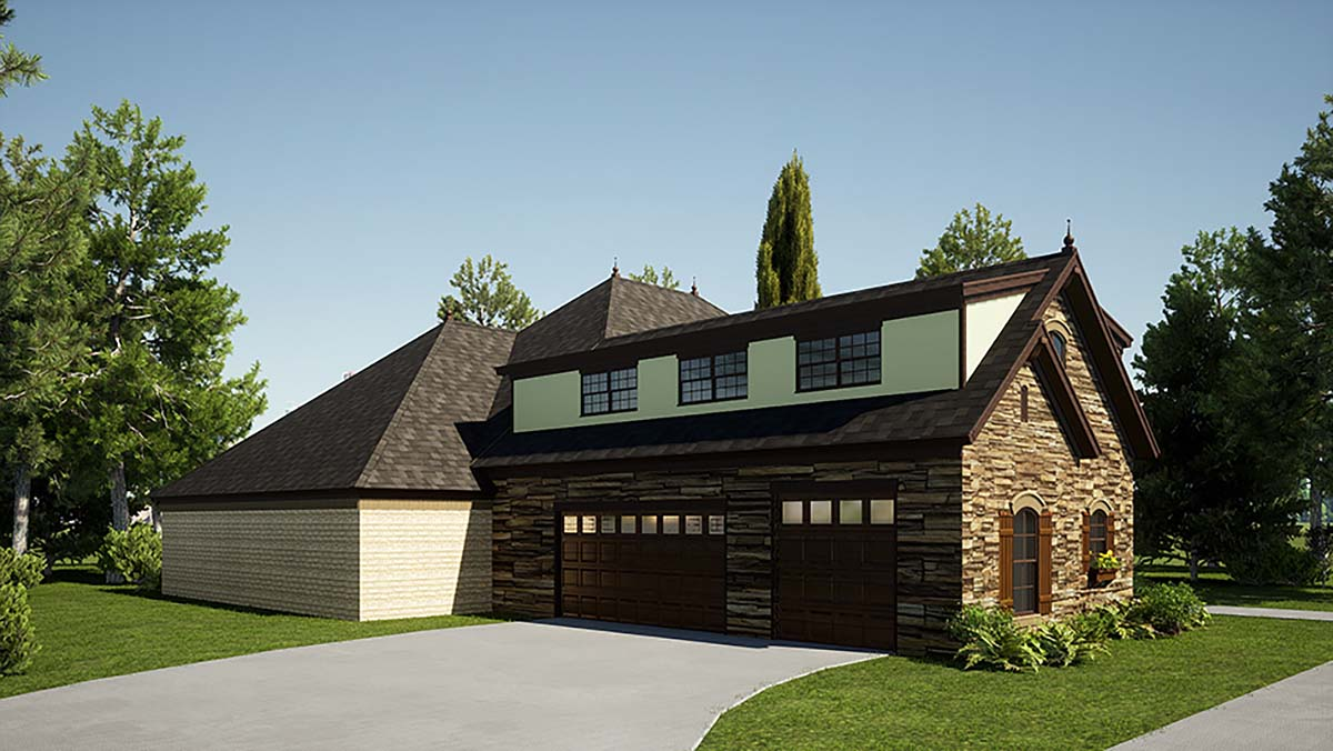 Bungalow, Craftsman, European, French Country House Plan 82571 with 3 Beds, 4 Baths, 3 Car Garage Picture 2