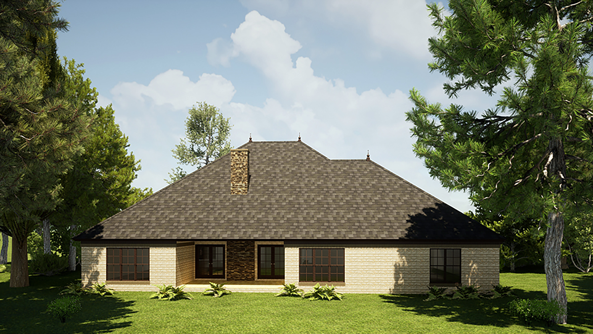 Bungalow, Craftsman, European, French Country House Plan 82571 with 3 Beds, 4 Baths, 3 Car Garage Rear Elevation