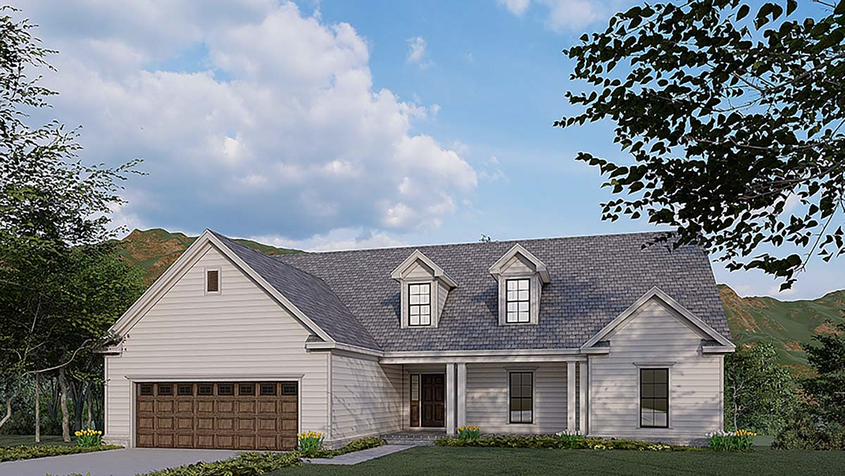 Traditional House Plan 82580 with 3 Beds, 4 Baths, 2 Car Garage Elevation