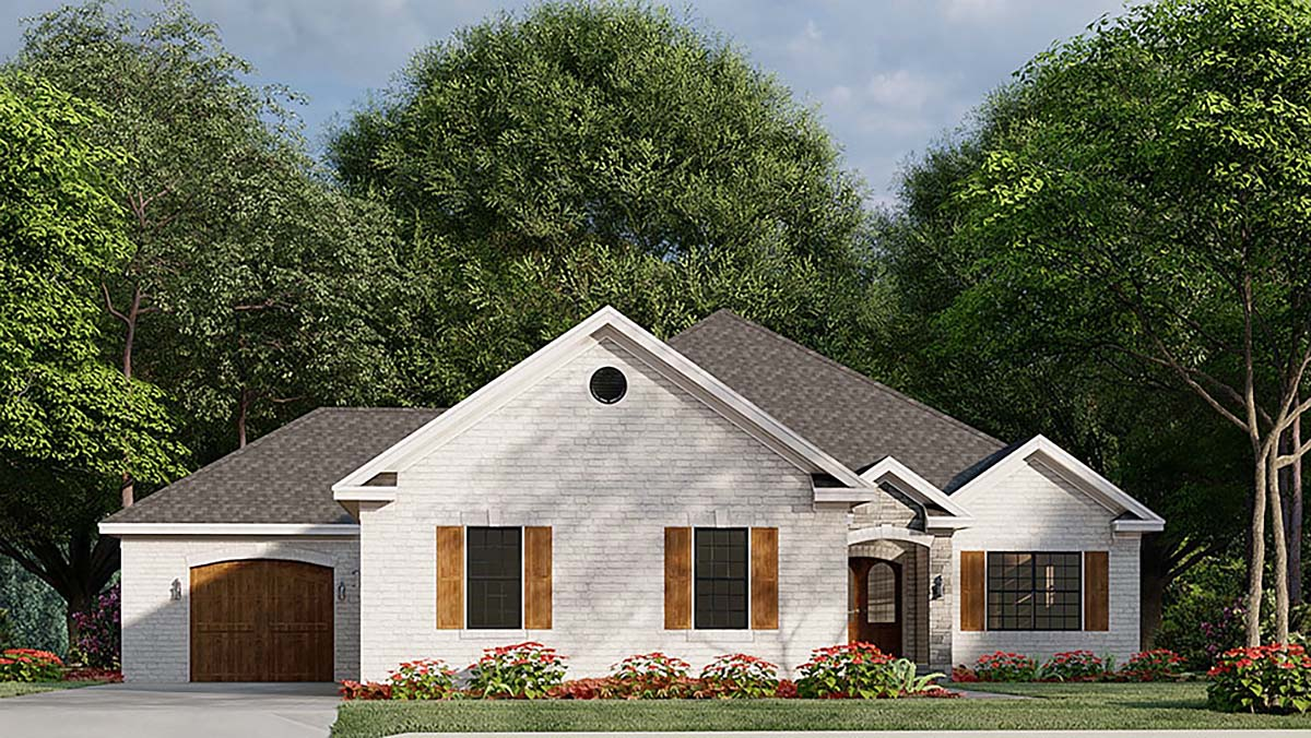 French Country, Traditional House Plan 82585 with 3 Beds, 2 Baths, 3 Car Garage Elevation