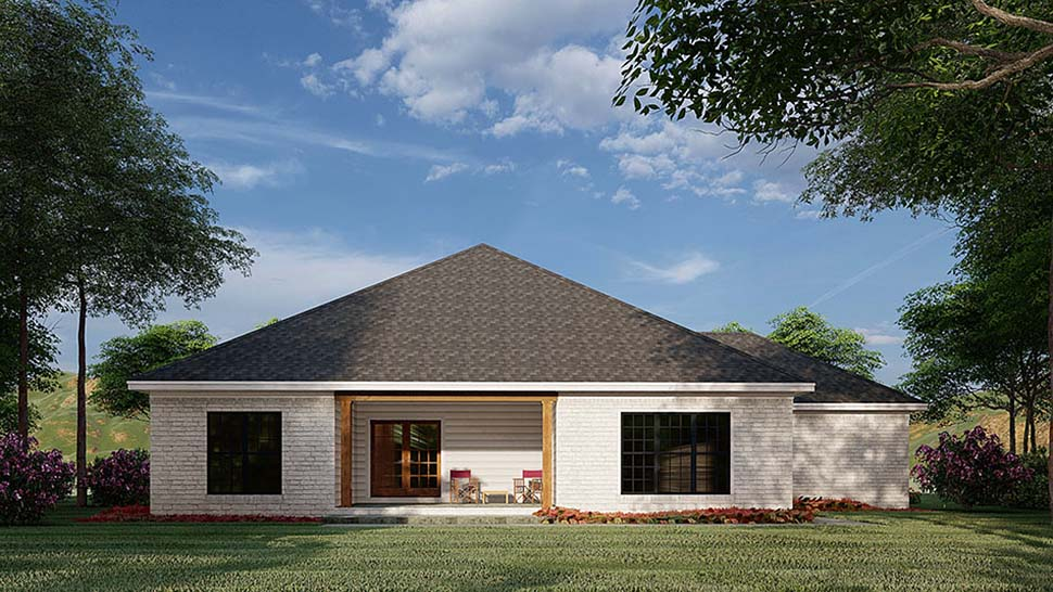 French Country, Traditional House Plan 82585 with 3 Beds, 2 Baths, 3 Car Garage Rear Elevation