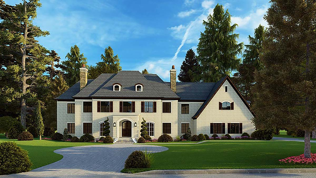 Colonial, Contemporary, European House Plan 82588 with 5 Beds, 7 Baths, 3 Car Garage Elevation