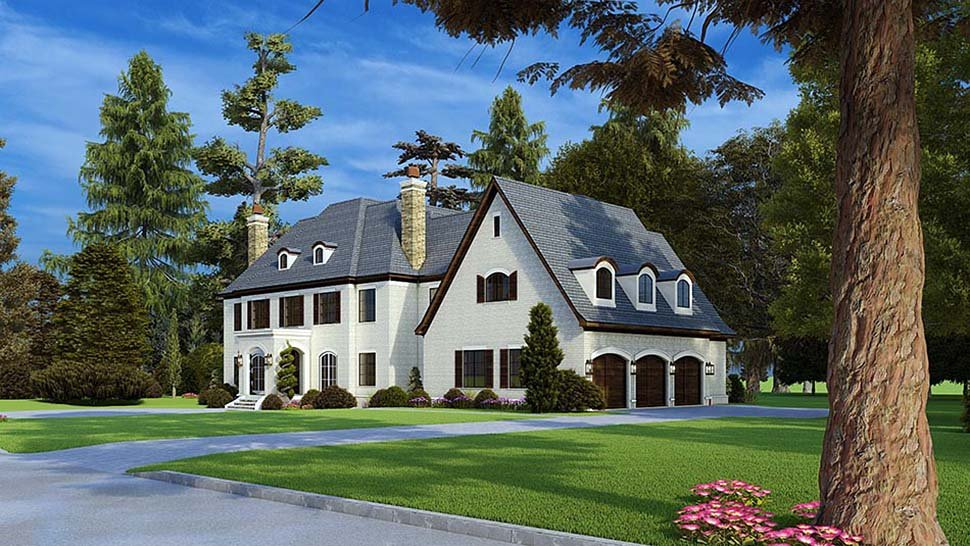 Colonial, Contemporary, European House Plan 82588 with 5 Beds, 7 Baths, 3 Car Garage Picture 1