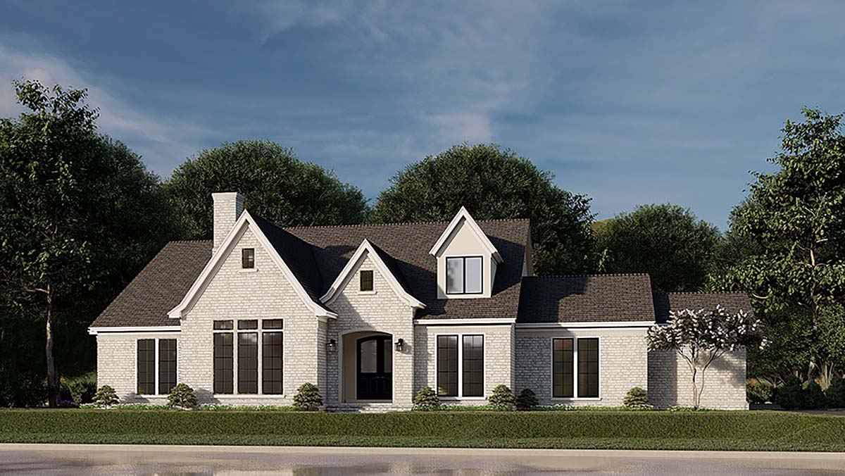 Contemporary, European, French Country House Plan 82589 with 4 Beds, 5 Baths, 2 Car Garage Elevation