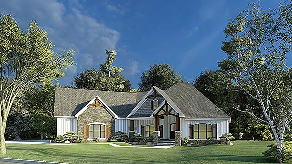 Bungalow, Craftsman, French Country House Plan 82595 with 3 Beds, 2 Baths, 2 Car Garage Elevation