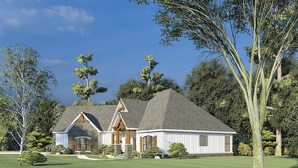 Bungalow, Craftsman, French Country House Plan 82595 with 3 Beds, 2 Baths, 2 Car Garage Picture 1