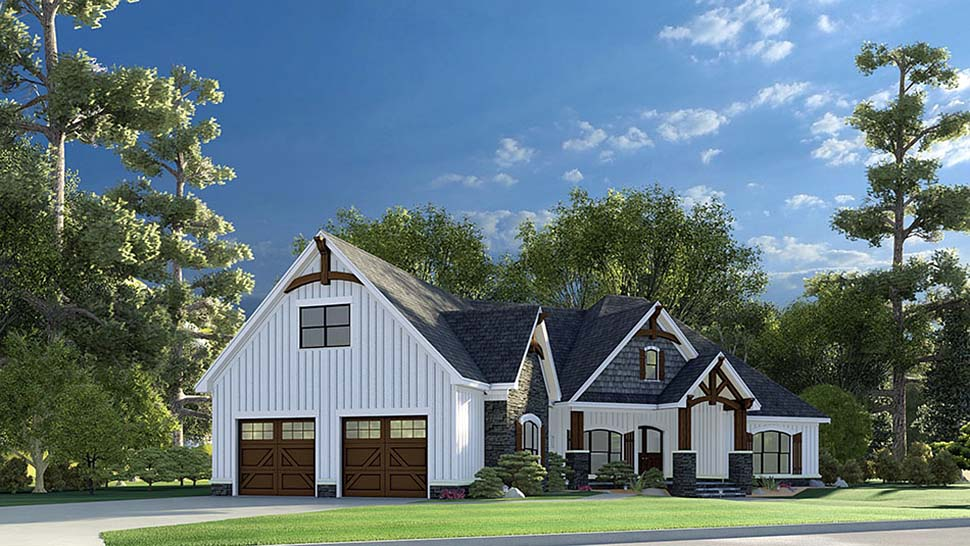 Bungalow, Craftsman, French Country House Plan 82595 with 3 Beds, 2 Baths, 2 Car Garage Picture 2