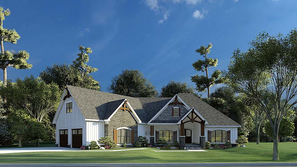 Bungalow, Craftsman, French Country House Plan 82595 with 3 Beds, 2 Baths, 2 Car Garage Picture 3
