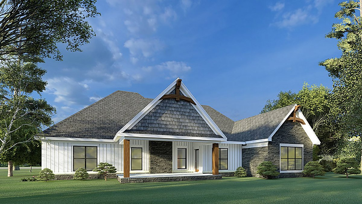 Bungalow, Craftsman, French Country House Plan 82595 with 3 Beds, 2 Baths, 2 Car Garage Rear Elevation