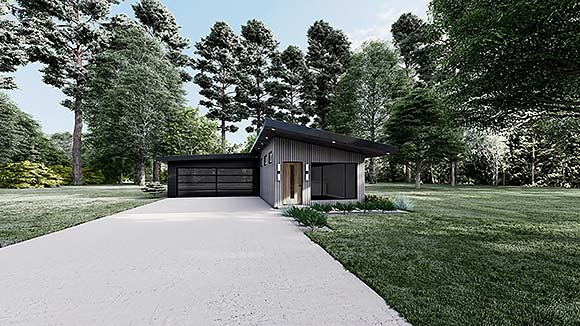 Contemporary, Modern House Plan 82597 with 3 Beds, 2 Baths, 2 Car Garage Elevation