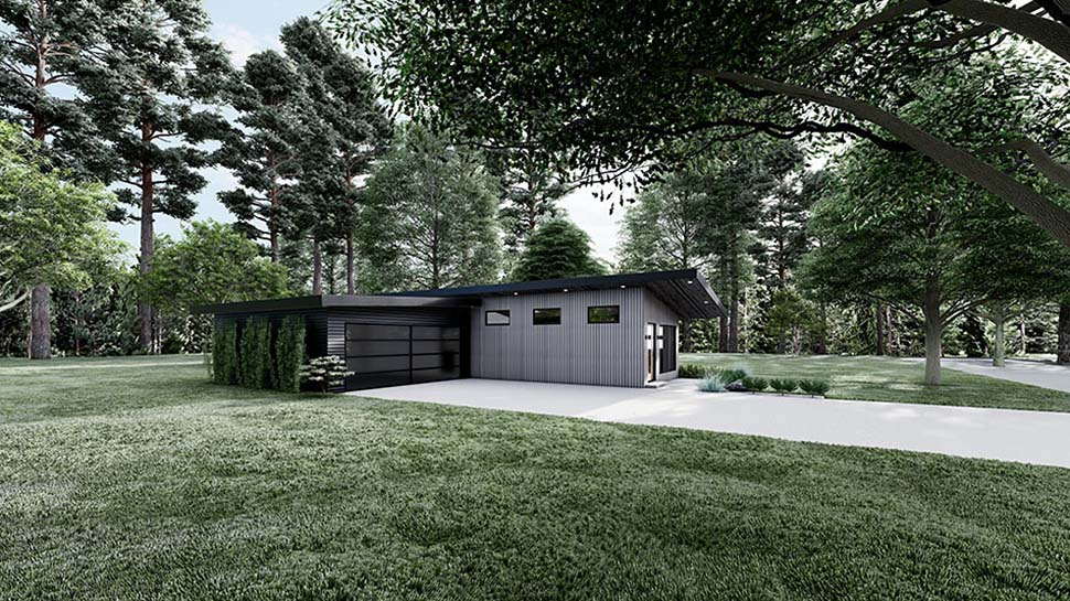 Contemporary, Modern House Plan 82597 with 3 Beds, 2 Baths, 2 Car Garage Picture 2